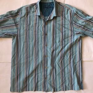 Tommy Bahama Blue Striped 100% Silk Camp Shirt
